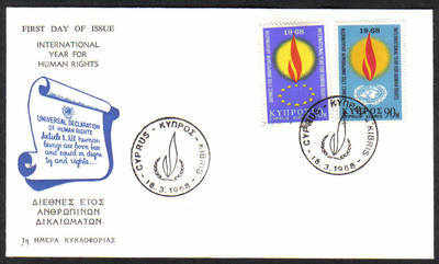 Cyprus Stamps SG 316-17 1968 Human Rights Cachet - Unofficial FDC (c474)