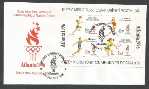 North Cyprus Stamps SG 429 MS 1996 Atlanta Olympic Games - Official FDC
