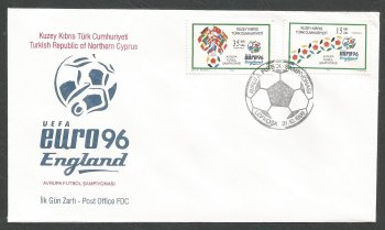 North Cyprus Stamps SG 430-31 1996 Euro 96 England (2 Stamps) - Official FDC