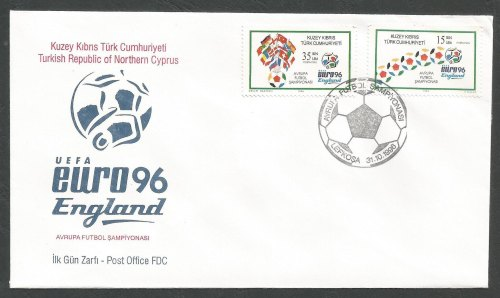 North Cyprus Stamps SG 430-31 1996 Euro 96 England (2 Stamps) - Official FD