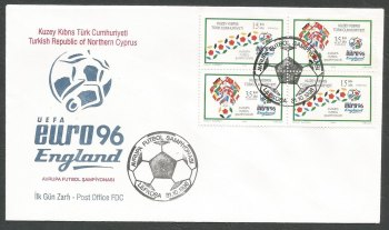 North Cyprus Stamps SG 430-31 1996 Euro 96 England (4 Stamps) Se-tenant - Official FDC
