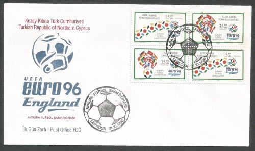 North Cyprus Stamps SG 430-31 1996 Euro 96 England (4 Stamps) Se-tenant - O