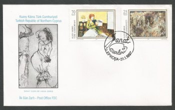 North Cyprus Stamps SG 436-37 1997 Art 13th Series - Official FDC
