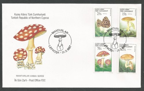 North Cyprus Stamps SG 438-41 1997 Fungi Mushrooms - Official FDC