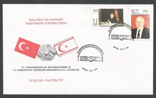 North Cyprus Stamps SG 445-46 1997 Visit of Turkish Prime Minister - Offici