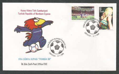 North Cyprus Stamps SG 474-75 1998 France World cup Football - Official FDC