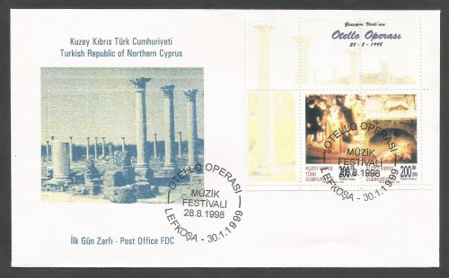 North Cyprus Stamps SG 487 MS 1999 Othello Opera in Cyprus - Official FDC