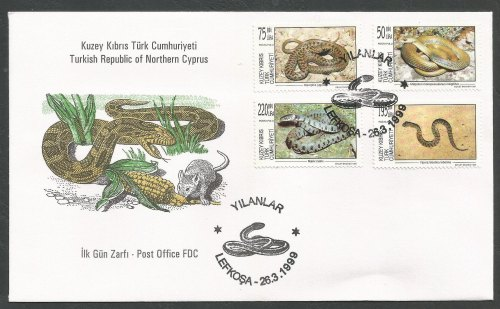 North Cyprus Stamps SG 488-91 1999 Snakes - Official FDC