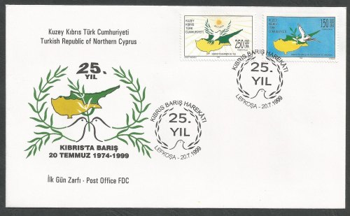 North Cyprus Stamps SG 494-95 1999 25th Anniversary of the Turkish Landings