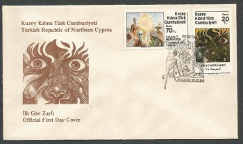 North Cyprus Stamps SG 163-64 1984 Mercader Art Paintings - Official FDC (k243)
