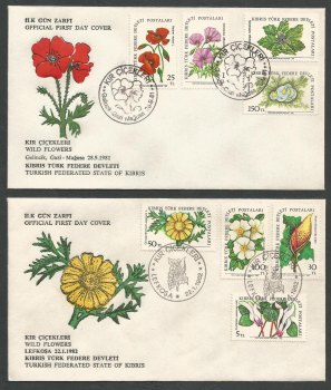 North Cyprus Stamps SG 109-116 1981 and 1982 Flowers - Official FDC