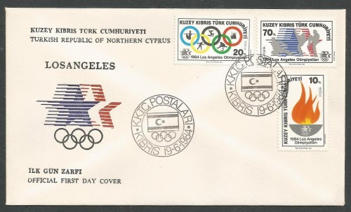 North Cyprus Stamps SG 150-52 1984 Los Angeles Olympic Games - Official FDC
