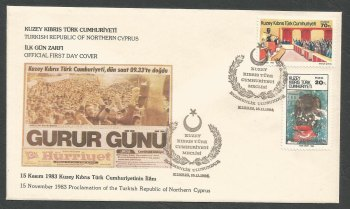 North Cyprus Stamps SG 159-60 1984 1st Anniversary of the TRNC - Official FDC
