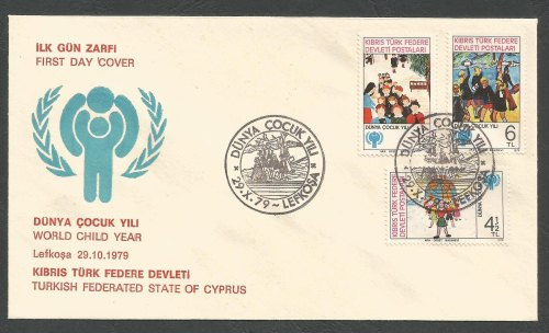 North Cyprus Stamps 85-87 1979 World Child Year - Unofficial FDC (k251)