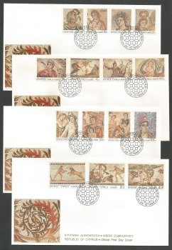 Cyprus Stamps SG 756-70 1989 Roman Mosaics Definitives - Official FDC