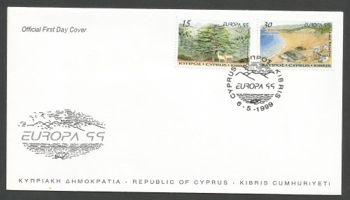 Cyprus Stamps SG 969-70 Europa Parks and Gardens - Official FDC