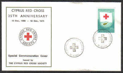 Unofficial Cover Cyprus Stamps 1975 Silver Jubilee of the Cyprus Red Cross