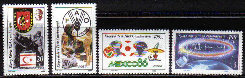 North Cyprus Stamps SG 193-96 1986 Anniversaries and Events - MINT