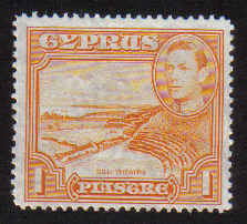 Cyprus Stamps SG 154 1938 1 Piastre KG VI - MLH