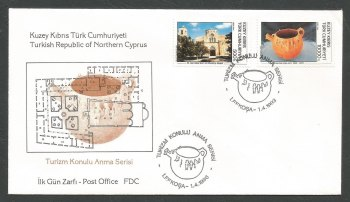 North Cyprus Stamps SG 351-52 1993 Tourism 3rd Series - Official FDC