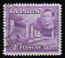 Cyprus Stamps SG 152a 1951 KGVI 1/2 Piastre - USED (c530)