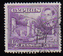 Cyprus Stamps SG 152a 1951 KGVI 1/2 Piastre - USED (c531)