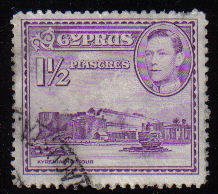 Cyprus Stamps SG 155a 1943 KGVI  1 1/2  Piastres - USED (c501)