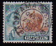 Cyprus Stamps SG 181 1955 QEII  35 Mils - USED (c602)
