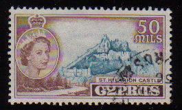 Cyprus Stamps SG 183 1955 QEII  50 Mils - Used (c570)