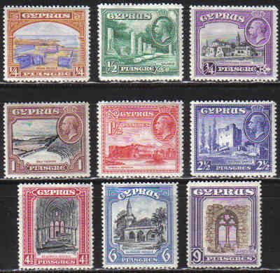 Cyprus Stamps SG 133-41 1934 KGV  Pictorial Stamps part set - MLH (c557)