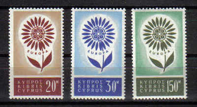 Cyprus Stamps SG 249-51 1964 Europa Flower - MINT