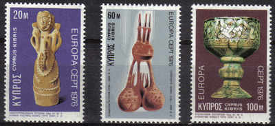 Cyprus Stamps SG 452-54 1976 Europa Ceramics - MINT