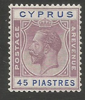 Cyprus Stamps SG 116 1924 3rd Definitives 45 Piastres - MLH (k263)