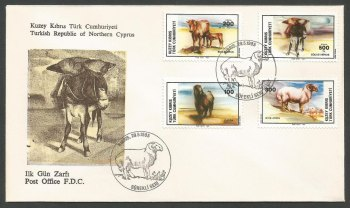 North Cyprus Stamps SG 168-71 1985 Animals - Official FDC