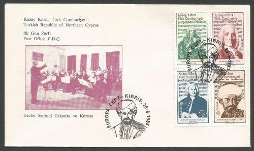 North Cyprus Stamps SG 172-75 1985 Europa Composers - Official FDC