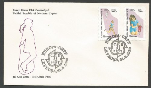 North Cyprus Stamps SG 251-52 1989 Europa Childrens games - Official FDC