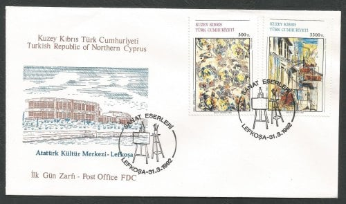 North Cyprus Stamps SG 328-29 1992 Art 11th Series - Official FDC
