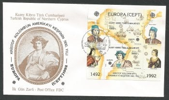 North Cyprus Stamps SG 334 MS 1992 Europa Discovery of America - Official FDC