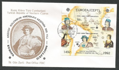 North Cyprus Stamps SG 334 MS 1992 Europa Discovery of America - Official F