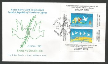 North Cyprus Stamps SG 395 MS 1995 Europa Peace and Freedom - Official FDC