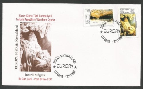 North Cyprus Stamps SG 492-93 1999 Europa Parks and Gardens - Official FDC