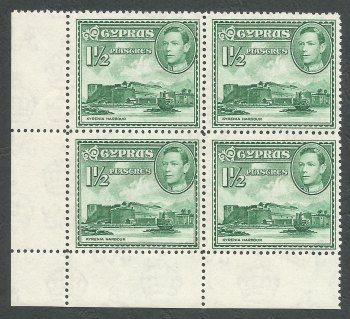 Cyprus Stamps SG 155ab 1951 1 and 1/2 Piastres - Block of 4 MINT (k273)