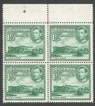 Cyprus Stamps SG 155ab 1951 1 and 1/2 Piastres - Block of 4 MINT (k272)