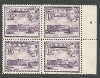 Cyprus Stamps SG 155a 1943 1 1/2 Piastres Block of 4 - MINT (K271)
