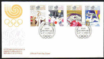 Cyprus Stamps SG 722-25 1988 Seoul Olympic Games - Official FDC