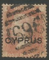 Cyprus Stamps SG 002 1880 Penny red plate 208 - USED (k278)
