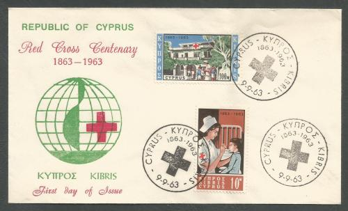 Cyprus Stamps SG 232-33 1963 Red Cross centenary - Unofficial FDC (k303))