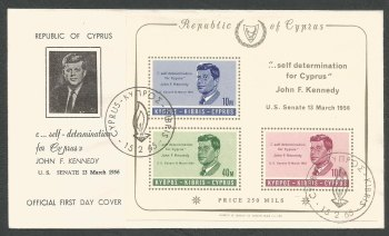 Cyprus Stamps SG 258a MS 1965 John F Kennedy - Official FDC (k302)