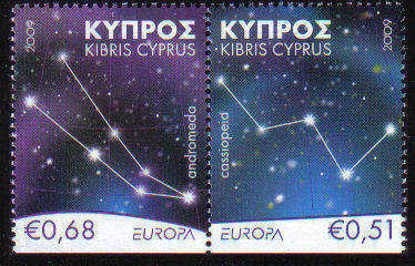 Cyprus Stamps SG 1188-89 2009 Europa Astronomy Booklet Bottom Set - MINT (c
