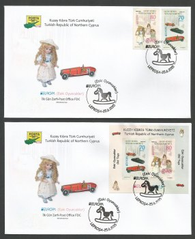 North Cyprus Stamps SG 2015 (e) Europa Old Toys - Official FDC